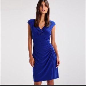 Lauren Ralph Lauren Deep Azure Ruched Dress 10 EUC